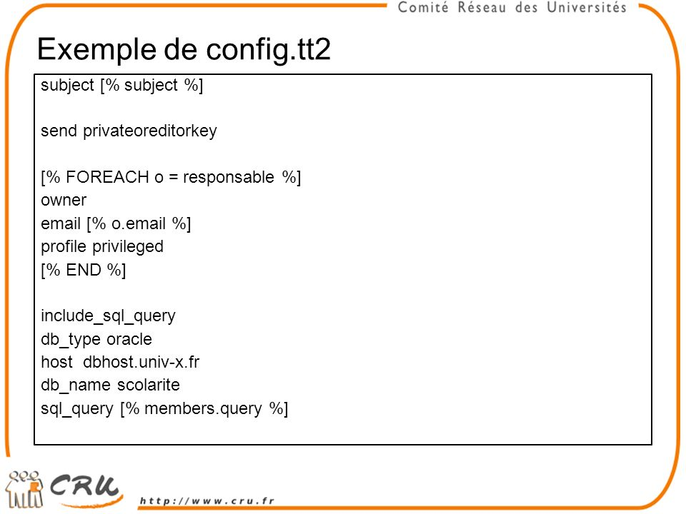 Exemple de config.tt2 subject [% subject %] send privateoreditorkey